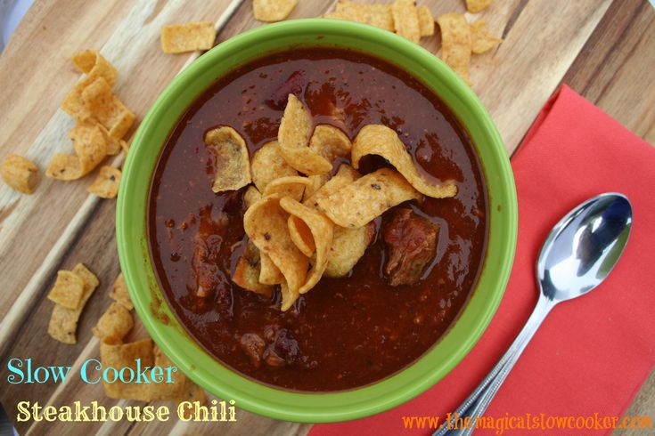 This slow cooker recipe for steakhouse chili doesn't have your usual ho-hum chili ingredients in it, this recipe has steak.