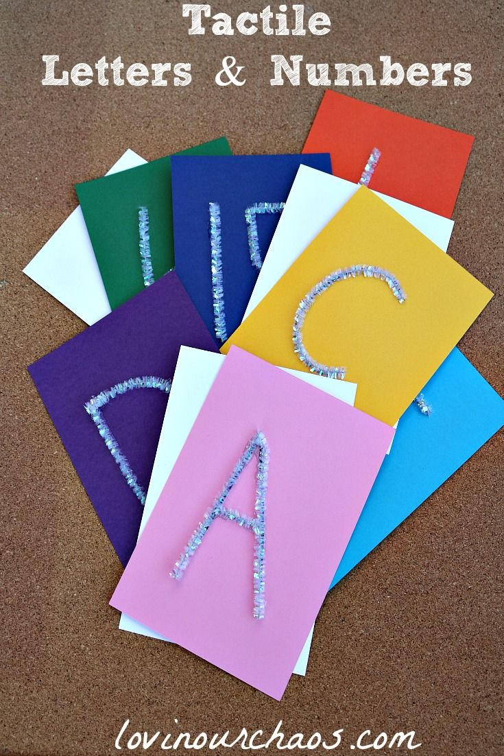 DIY Tactile Letters and Numbers. Encourage learning through sensory crafts and activities. All you need to make these homemade letters is paper, pipe cleaners, and hot glue.