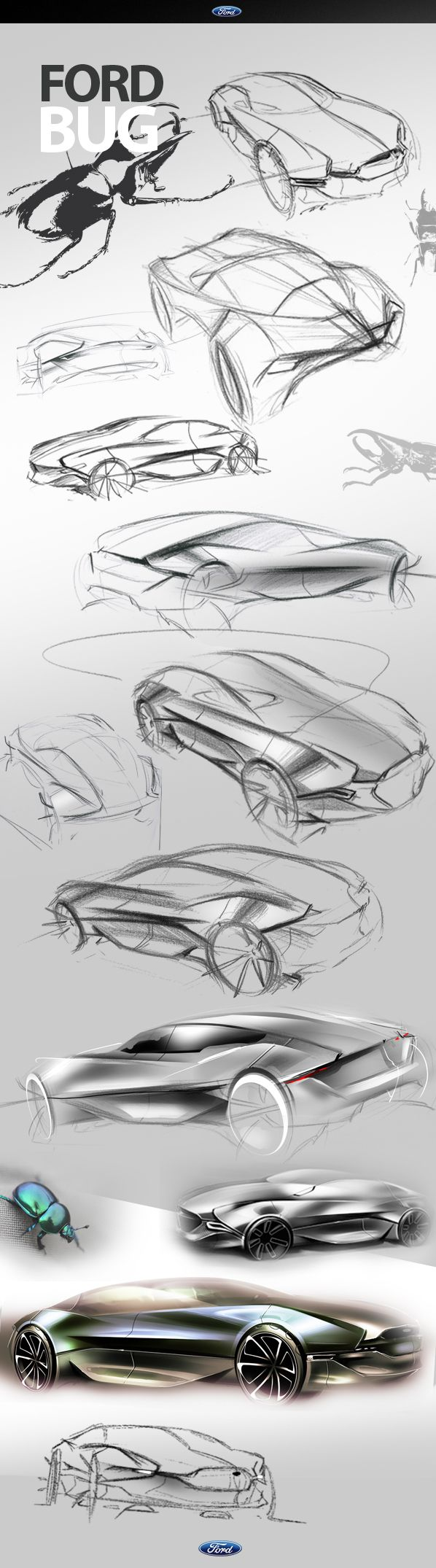 FORD BUG Concept by Jason Chen, via Behance  formal research, sketches and quick render