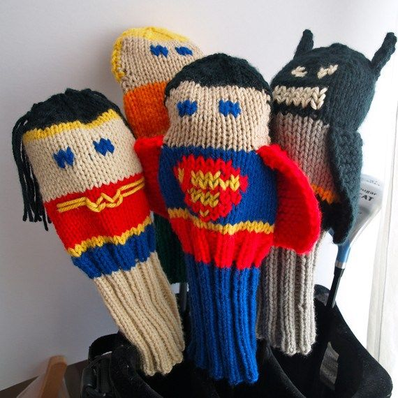 Knitting patterns for Justice League Golf club Covers and more super hero knitting patterns