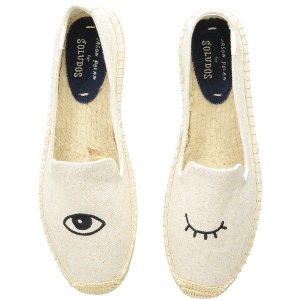 Soludos Wink Embroidery SM Slipper (Wink Sand) Women's Slip on  Shoes ($75) ❤ liked on Polyvore featuring shoes and slippers