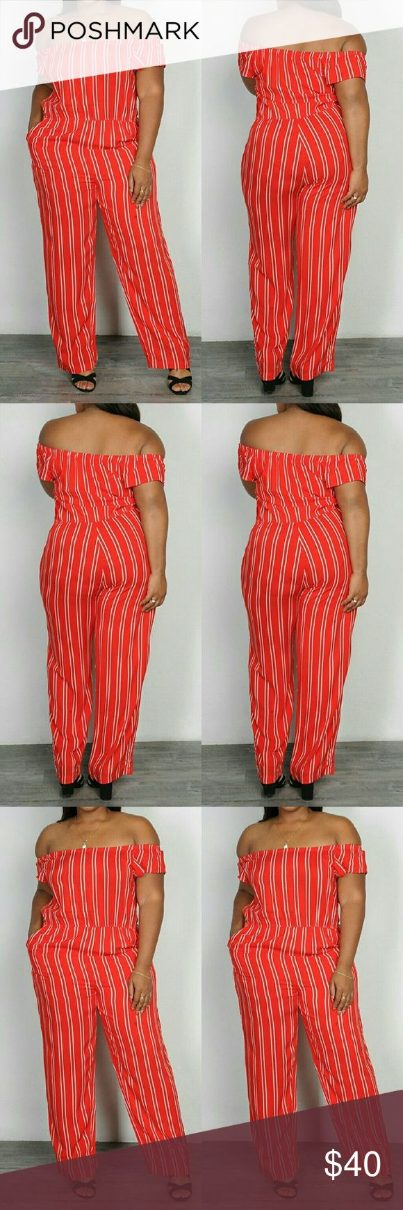 SHORT SLEEVE OFF SHOULDER PLUS SIZE STRIPED SHORT SLEEVE OFF SHOULDER PLUS SIZE STRIPED JUMPSUIT 100%RAYON Pants Jumpsuits & Rompers