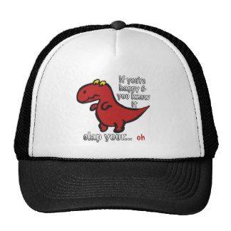 Dinosaur Can't Clap Joke Trucker Hats