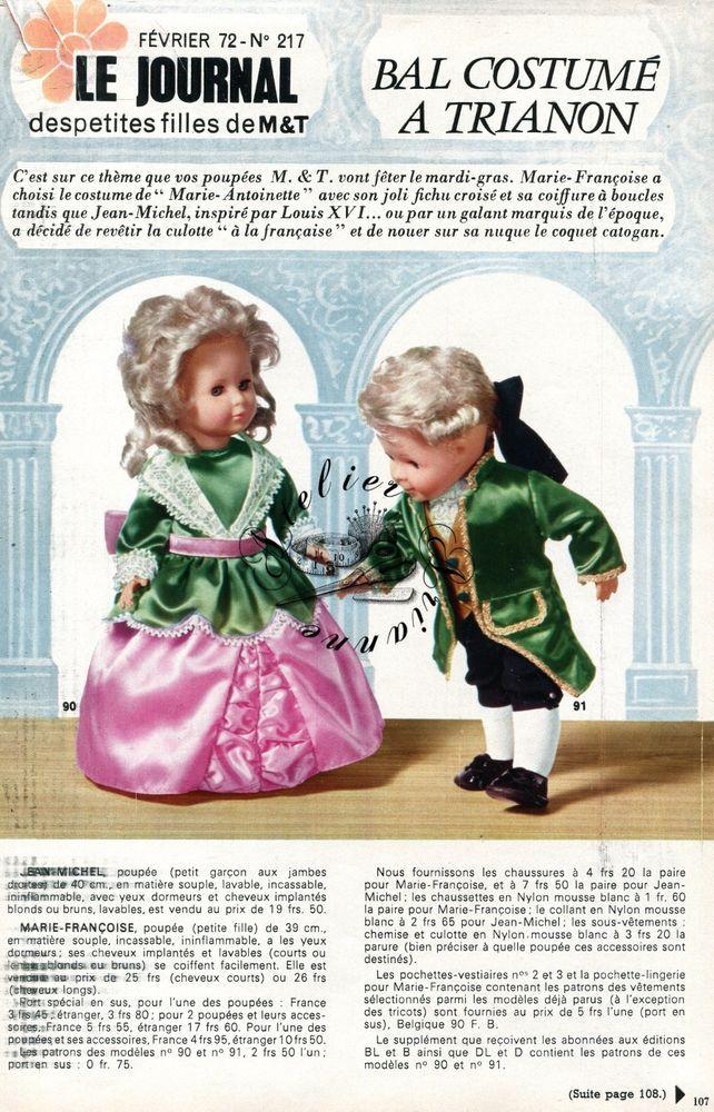 Page Poupée Modes et Travaux , Février 1972 Marie - Françoise , Jean Michel