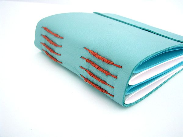 Book # 2 Blue leather long stitch book with packing.  #handmadebooks #bookbinding