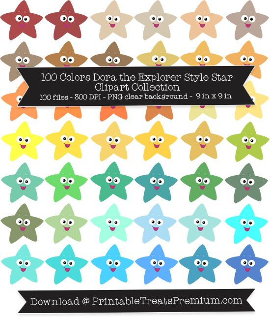 100 Colors Dora the Explorer Style Star Clipart Collection