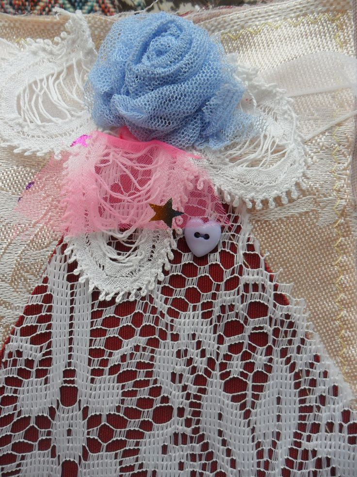 October, 6 layers, angel , blue tulle rose, heart button,