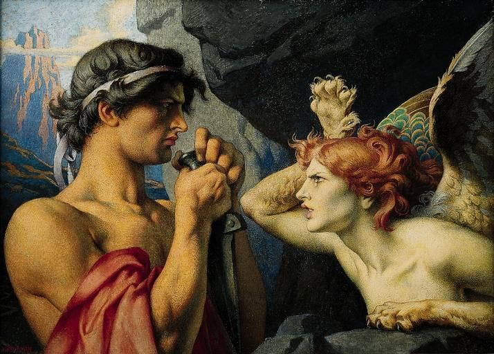 François-Émile Ehrmann, Oedipus and the Sphinx (Oedipe et le Sphinx) | Dark Classics