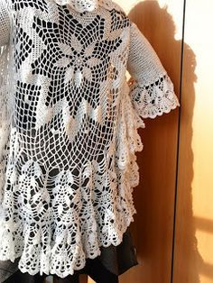 Πλεκτή κυκλική δαντελένια ζακέτα -Lace Crochet Circular Cardigan