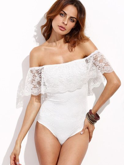 Shop White Lace Off The Shoulder Bodysuit online. SheIn offers White Lace Off The Shoulder Bodysuit & more to fit your fashionable needs.