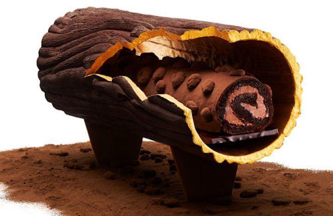 Rêver...Bûche Perpétua par Pierre Hermé Biscuit au chocolat imbibé de sirop au chocolat, ganache et crème chantilly au chocolat noir, nougatine aux éclats de fèves cacao, sablé infiniment chocolat. Prix sur demande en édition limitée.