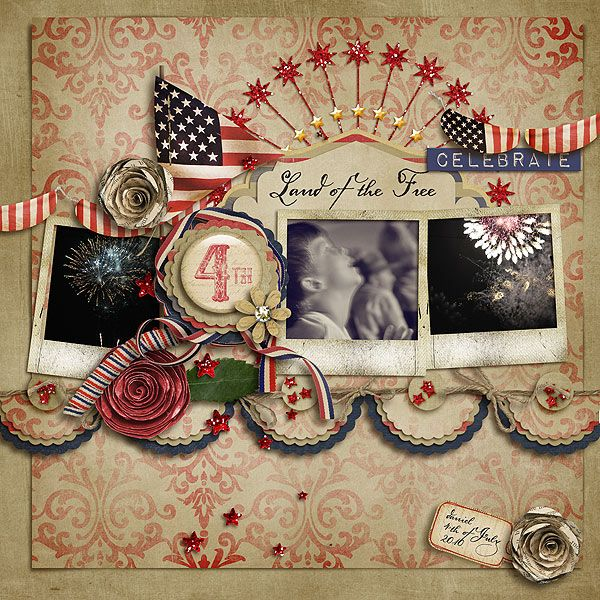 Vintage Red, Tan, & Blue July 4th. page...