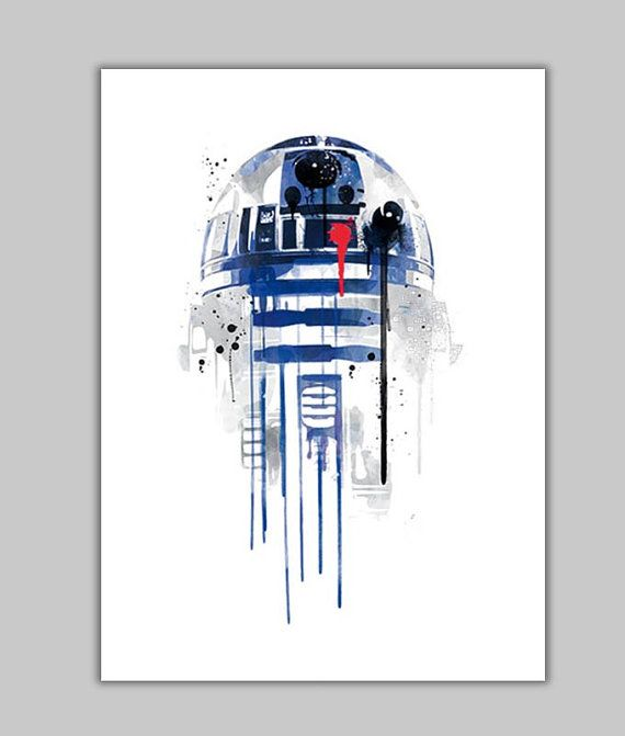 Watercolor r2d2 star wars robot alternative por goldenplanetprints