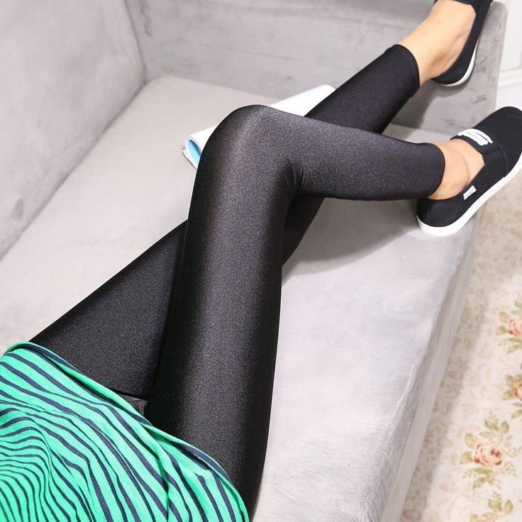 Women Black Trousers Pencil Pants Fashion Slim Skinny Leggings Solid Elastic Leggings Female breathable luster gloss jeggings