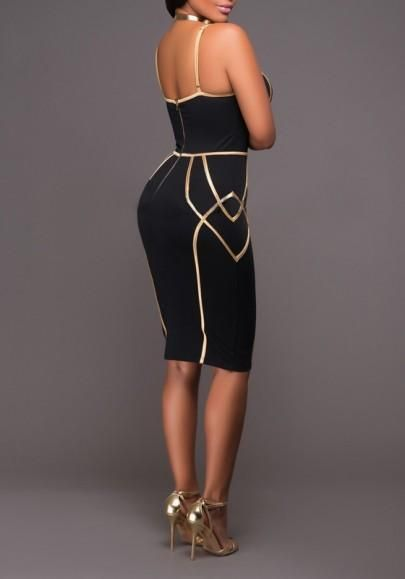 ab8dde48297 Black Geometric Gold Side Spaghetti Straps Bodycon NYE Midi Dress ...