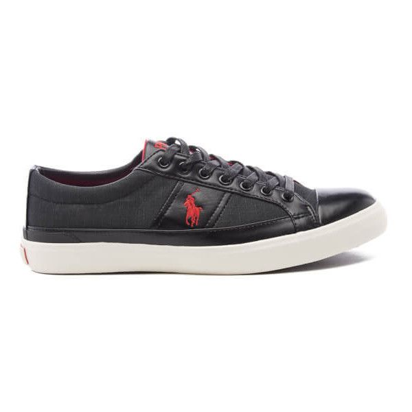 Polo Ralph Lauren Men's Churston-NE Trainers - Black ($55) ❤ liked on Polyvore featuring men's fashion, men's shoes, men's sneakers, black, mens black sneakers, mens leather sneakers, mens shoes, mens black leather sneakers and mens leather shoes