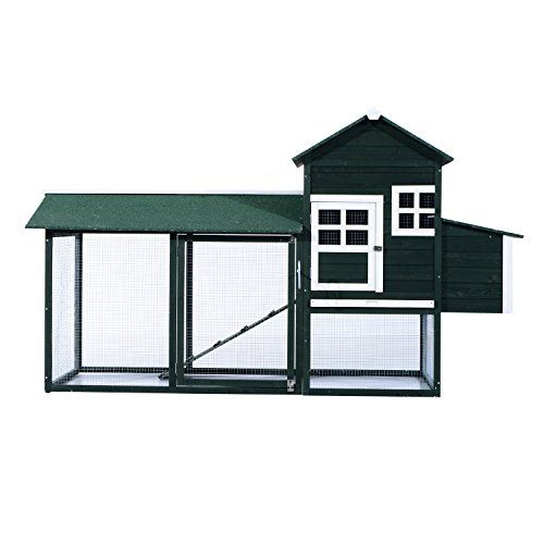 Pawhut Wooden Backyard Poultry Hen House Chicken Coop – Green