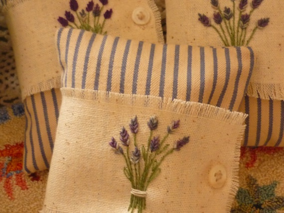 Embroidered Lavender Sachets by ThreeCatFarm on Etsy, $26.00