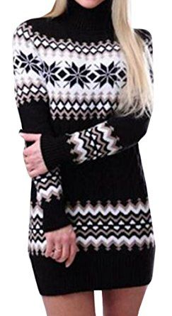 BYBU Womens Turtleneck Snowflake pattern Knit Sweater Dress