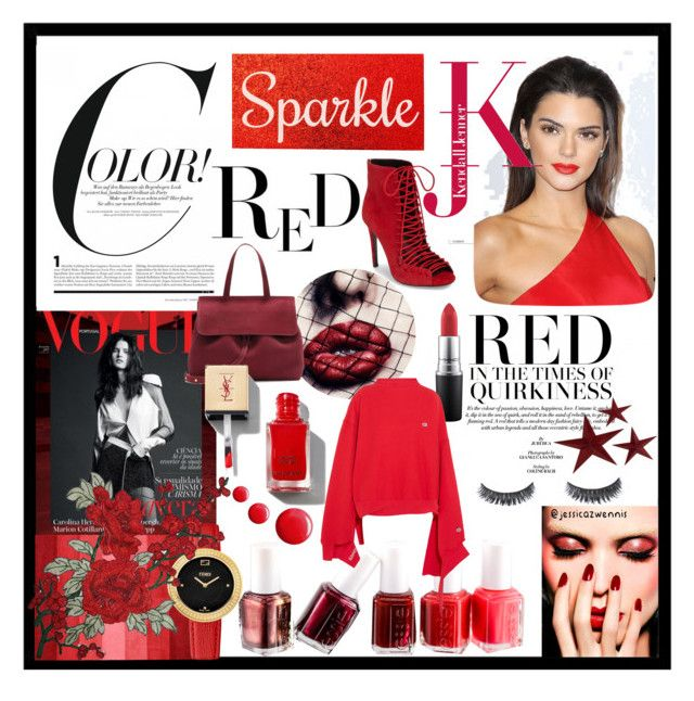 Color! #RED ❤️ by jessicazwennis on Polyvore featuring polyvore, beauty, Essie, Topshop, Fendi, Vetements and Kendall + Kylie