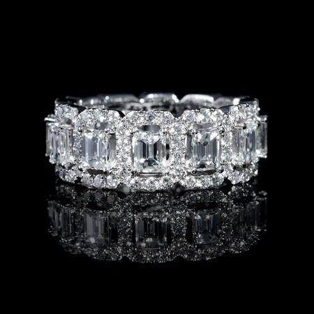 3.68ct Diamond Emerald and Round Brilliant Cut 18k White Gold Eternity Wedding…