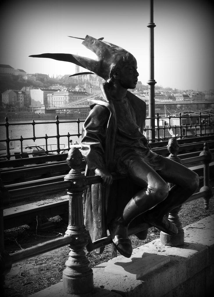 Little Princess Statue along the Danube Promenade in Budapest, Hungary (March 2014) - Photo taken by BradJill