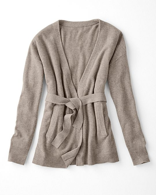 Cashmere Draped Belted Cardigan