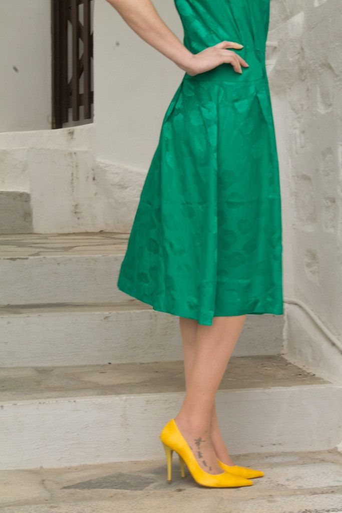 Green dress with Yellow shoes in Cyclades