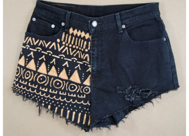 Tribal DIY shorts , with a bleach pen