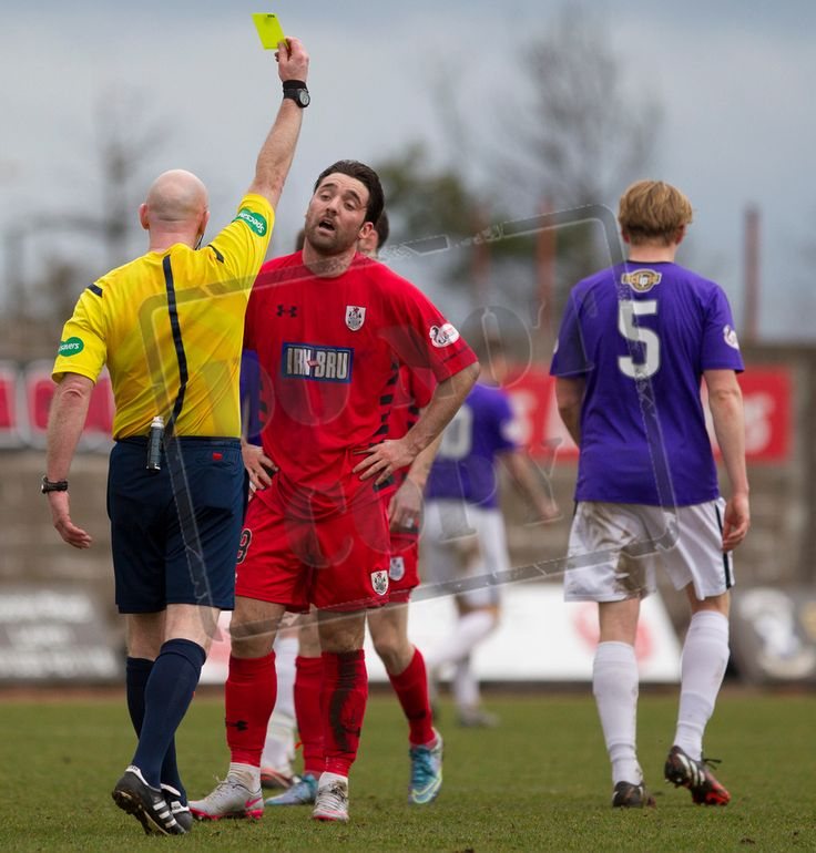 Queen's Park's Chris Duggan gets booked during the SPFL League Two game between Queen's Park and Arbroath.