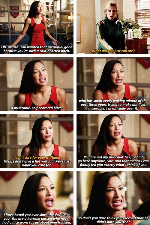 The thing that gets me about Santana's rant to Sue was that you can see in her eyes that she's kind of talking about herself too because she didn't say anything nice to Finn either