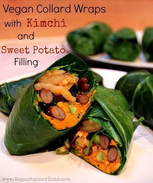 Vegan Collard Wraps with Kimchi and Sweet Potato Filling, plus how I met the legendary vegan ultramarathoner Scott Jurek in person!
