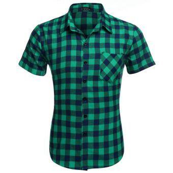 Camisa A Cuadros Manga Corta para Hombre-Verde