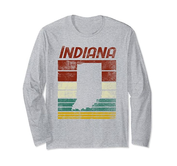 Amazon.com: Unisex Indiana Silhouette With Retro Color Background  Distressed 2XL Heather Grey: