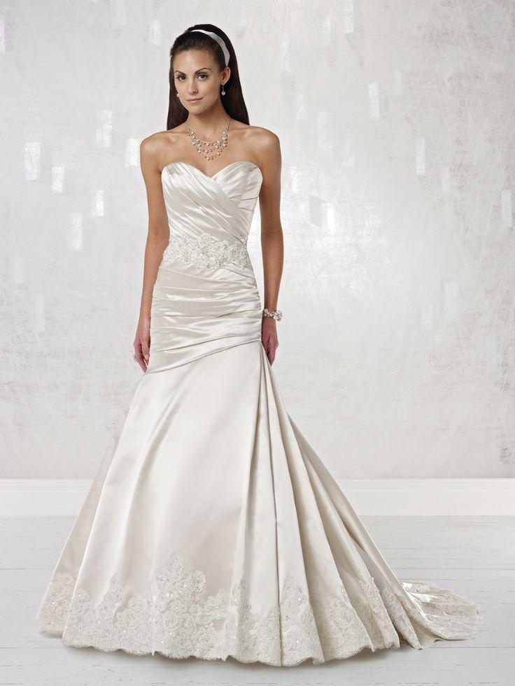 Sweetheart trumpet / mermaid satin bridal gown