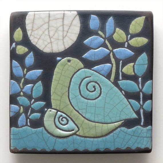 Bird Ceramic tilemama and babyhandmade raku fired by DavisVachon, $36.00