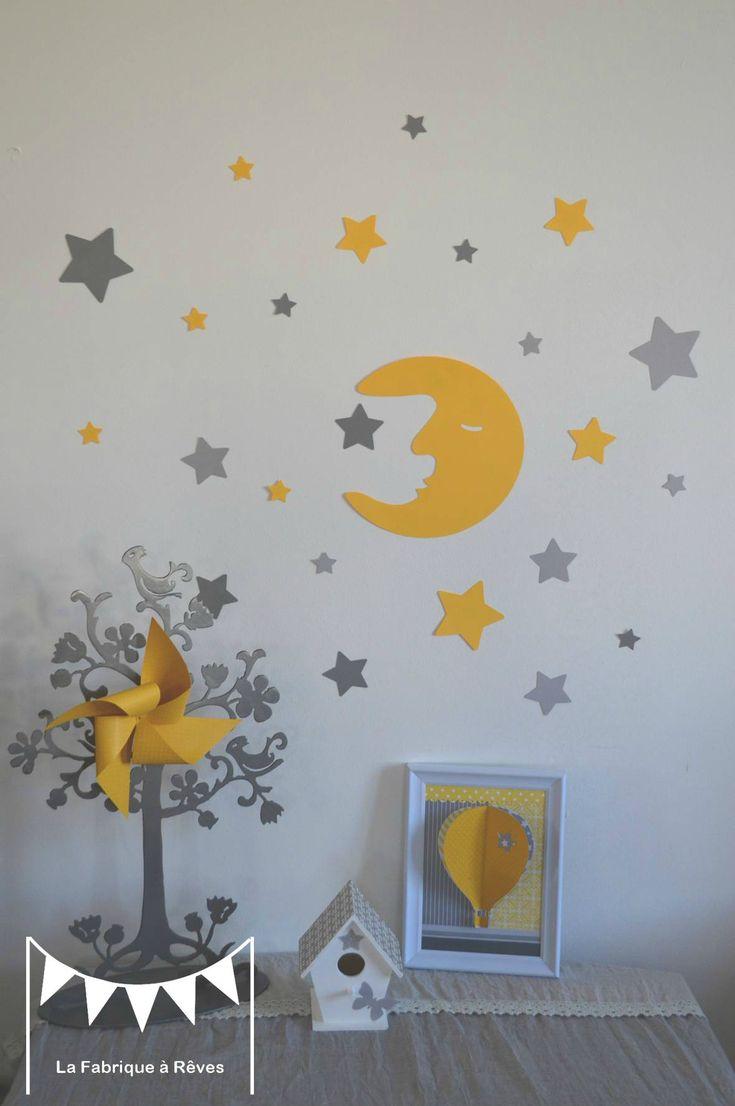 stickers décoration chambre enfant fille bébé garçon lune et étoiles jaune gris