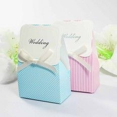 Pink or Blue Favour Box with Bow