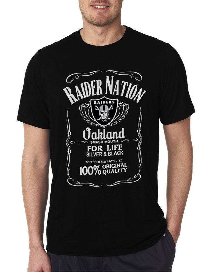 Raider Nation Whisky Logo Oaklan Raiders Fanatic Silver and Black Men T Shirt's