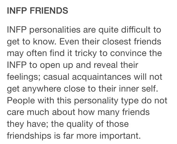 ∆ INFP...INFP (Introvent, iNtuitive, Feeler, Perceiver) Introverted feeling with Intuition ...list of detailed traits...