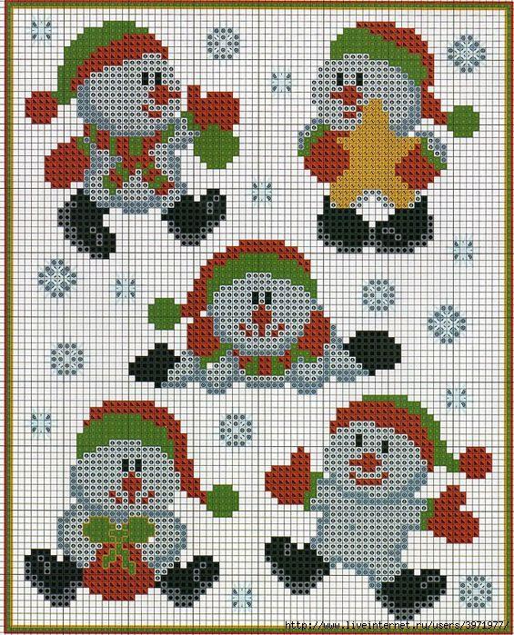 Christmas snowmen perler bead pattern