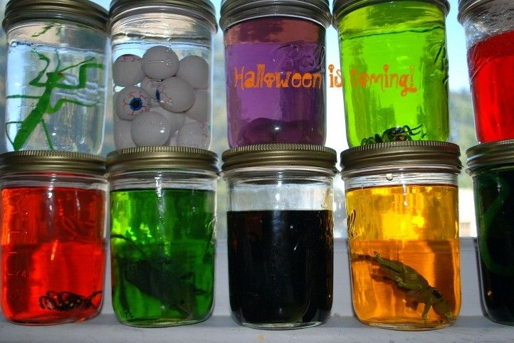 A few fun little props for mad science. Fill jars with colored water and plastic bugs, body parts etc.