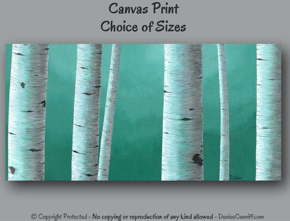 etsy-220$-20x40, has other sizes Wall art Large, Birch tree painting - Canvas art print, Teal home decor, Office decor, Teal green Gray, Bedroom decor master, Oversized XXL