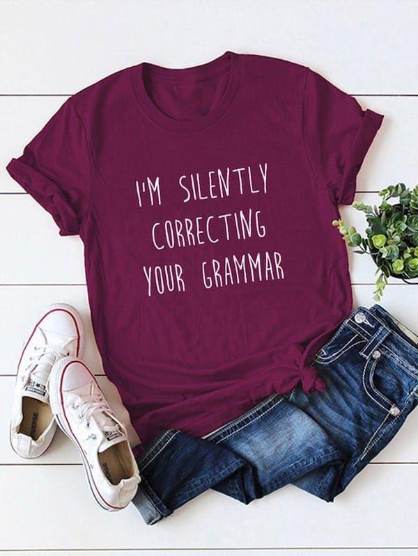 Plus Letter Print Tee Shein Sheinside Camisetas Estampadas Ropa Camisetas