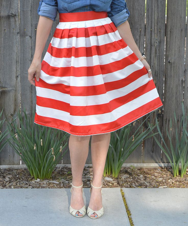 Look at this Tara Lynn's Boutique Red & White Stripe Midi Skirt on #zulily today!