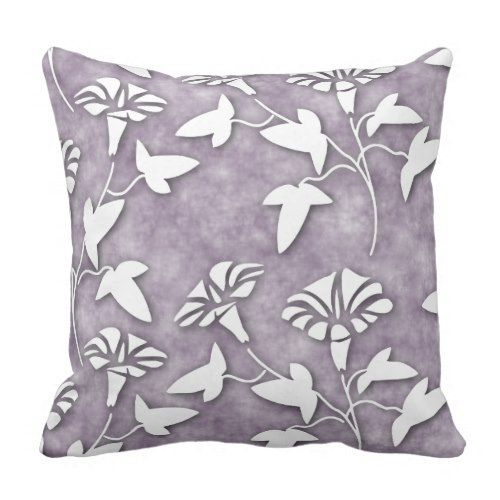 Lavender throw #pillows can make any room feel more inviting,  comfortable and relaxing. Naturally so as light #purple throw pillows evoke  feelings of tranquility and peace.   Moreover, lavender accent pillows look absolutely amazing in bedrooms,  living rooms and the office.        White Floral On Lavender Violet Purple Batik Throw Pillow