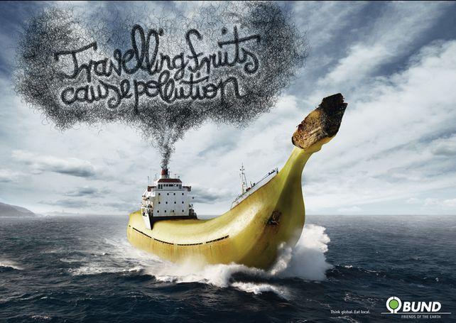 """Travelling fruits cause pollution."" by McCann-Erickson for BUND. #pollution #cop21 #greatad #savetheplanet"