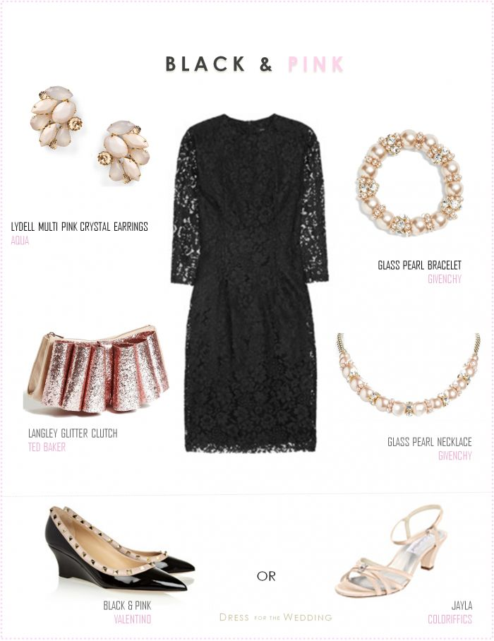 Little Black Lace Dress With Pale Pink Accessories All About Style