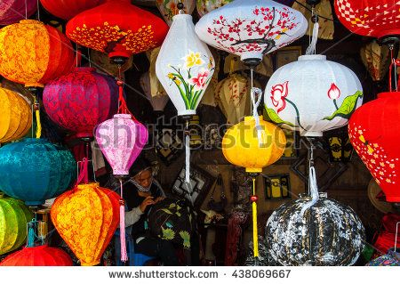 Hoi An, Central Vietnam. February 22, 2013 . Shop Traditional Vietnamese silk lanterns in Old Town Hoi An, Central Vietnam. - stock photo