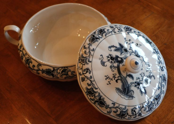 """Nikko China (Japan) """"Ming Tree"""" Blue and White Ironstone Pattern Round Handled Serving Bowl With Lid by JosChinaShop on Etsy https://www.etsy.com/listing/280878902/nikko-china-japan-ming-tree-blue-and"""